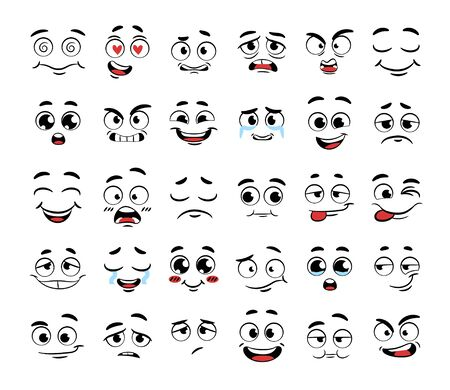 Illustration pour Set of funny cartoon faces - image libre de droit