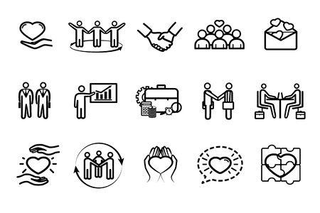Illustration pour Collection of business and friendship icons - image libre de droit