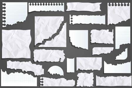 Illustration pour Paper scraps. Ripped papers, torn page pieces - image libre de droit