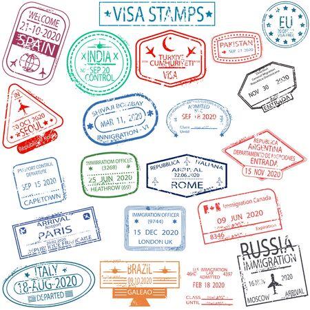 Foto für Set of arrival and departure visa stamps - Lizenzfreies Bild