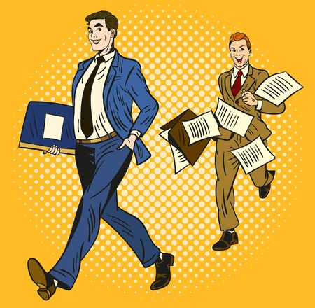 Ilustración de Two cartoon businessmen over a yellow background, one smart and organised carrying a briefcase and the second rushing along running behind with papers flying everywhere - Imagen libre de derechos