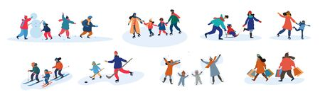 Illustration for Set of eight different family activities in winter - Royalty Free Image