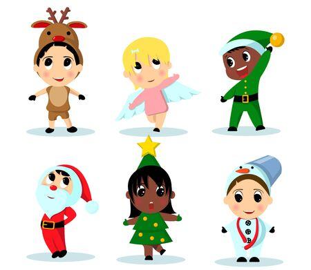 Illustration pour Vector illustration of cute kids wearing Christmas costumes - image libre de droit