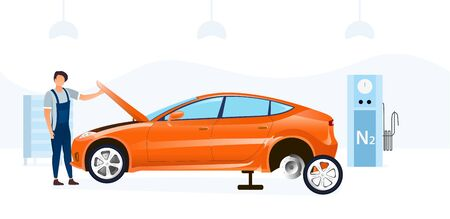 Illustration for Mechanic doing a car service changing a tyre and working under the bonnet or hood in a garage workshop, vector illustration - Royalty Free Image