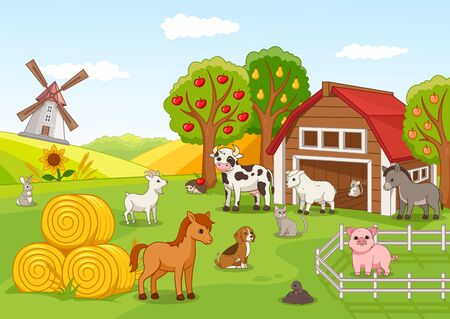Illustration pour Colorful farmyard with animals and fruit orchard - image libre de droit