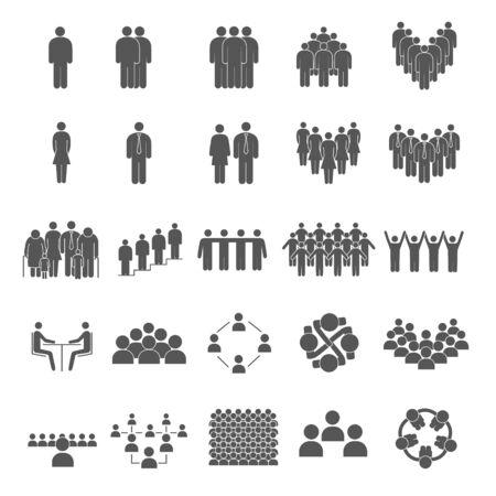 Illustration pour Set of grouping people icons - image libre de droit