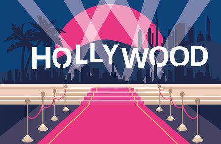 Illustration pour Hollywood red carpet background - image libre de droit