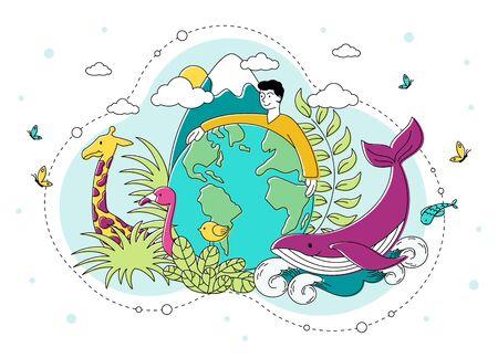 Illustration pour Saving the natural environment and Planet - image libre de droit