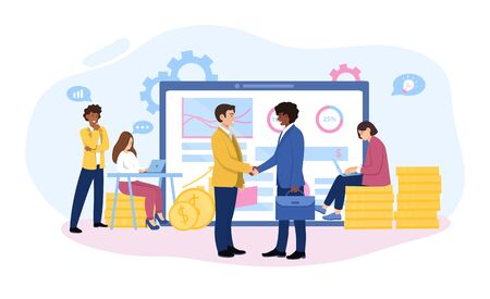 Reaping the rewards from a smart investment with two businessmen shaking hands in front of a laptop, working team and stacked gold coins, colored vector illustration with copy space for text
