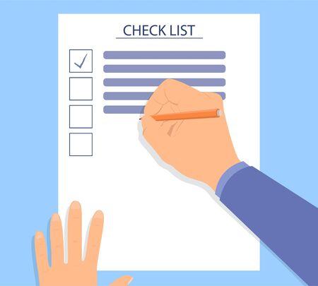 Illustration pour Hand filling checklist on a desk - image libre de droit