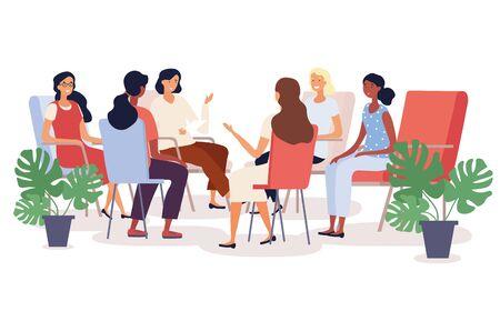 Illustration pour Group therapy session with diverse women - image libre de droit