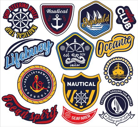 Illustration for Large selection of nautical and maritime labels - Royalty Free Image