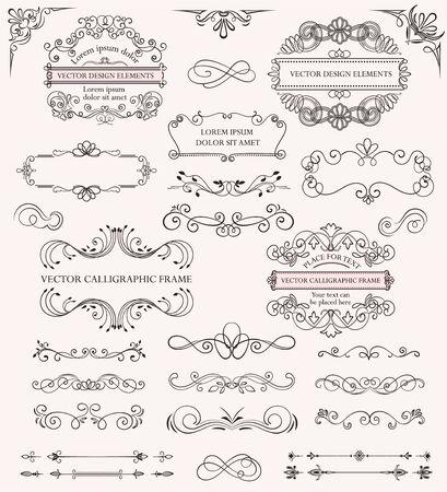 Illustration pour Set of different calligraphic frames and patterns - image libre de droit