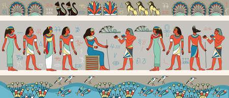 Illustration pour Colorful frieze depicting ancient Egyptians - image libre de droit