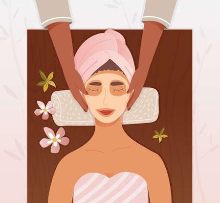 Illustration pour Beautician applying a face mask to a woman - image libre de droit