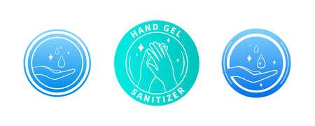 Illustration for Set of three hand sanitizer labels - Royalty Free Image