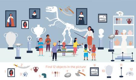 Illustration pour The guide tells the children about the exhibit in museum - image libre de droit
