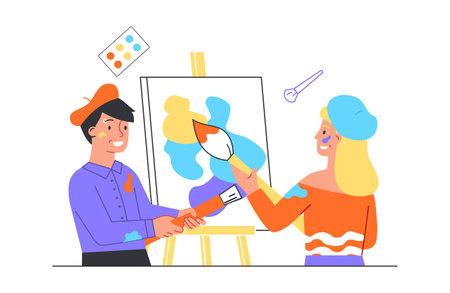 Illustration pour Art workshop concept - image libre de droit
