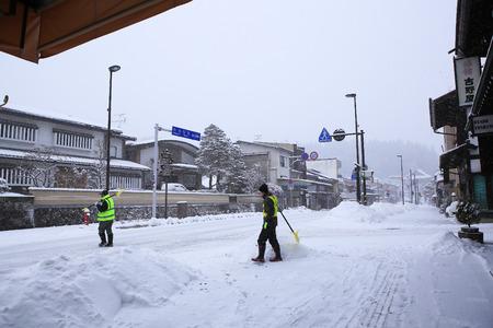 TAKAYAMA, JAPAN - JANUARY 19  A snowy day in takayama city especially in its beautifully preserved old town on JANUARY 19, 2014 in Takayama, Japan