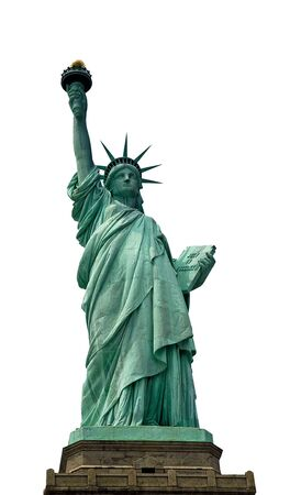 Closeup of the Statue of Liberty on Liberty Island, isolated, white background