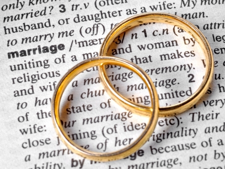 Two wedding rings next to the word
