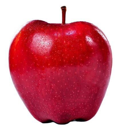 Isolated frontal shot of a fresh red apple with stem and drops of water on it.