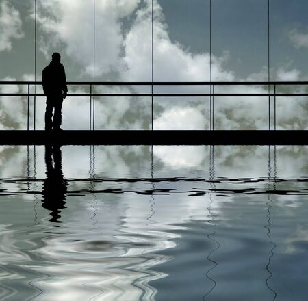man in the modern building, with reflection
