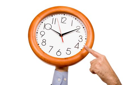 man hand pointing to a clock isolated in white background