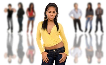 beautiful african young girl in front of a group of people, isolated