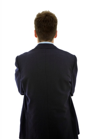 young businessman from behind, isolated on white