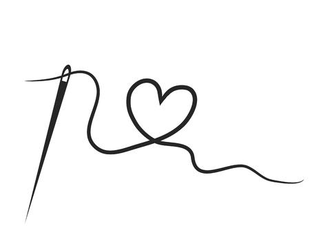Illustration pour heart with a needle thread. vector illustration - image libre de droit