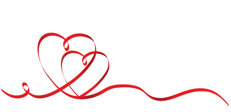 Illustration pour Calligraphy Two Red Heart Ribbon on White, Vector Stock Illustration - image libre de droit