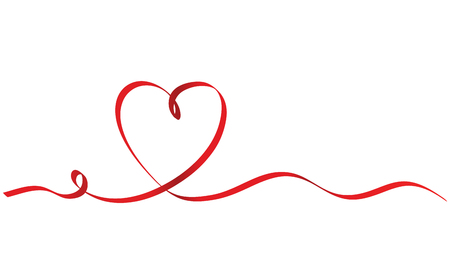 Illustration for Calligraphy Red Ribbon Heart on White Background, Vector Stock Illustration - Royalty Free Image