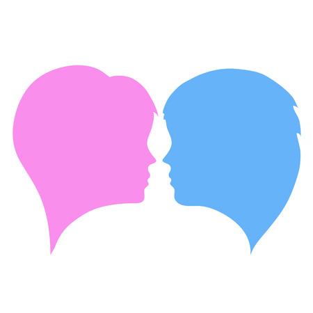 Vektor für man and woman silhouettes heads on white, stock vector illustration - Lizenzfreies Bild