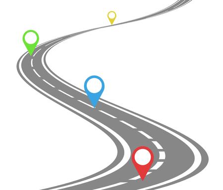 Illustration pour Winding road timeline concept - image libre de droit