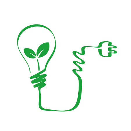 green bulb with plant leaf, green energy concept, stock vector illustration