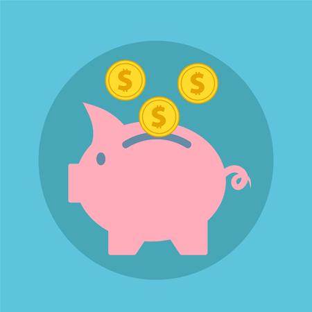 Illustration pour Pink piggy bank with falling golden coins, flat icon vector illustration - image libre de droit