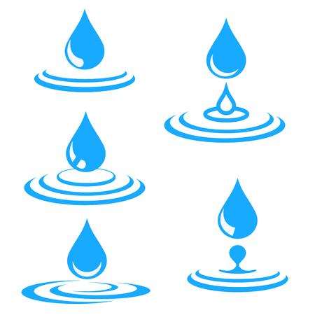 Illustration pour set of blue water drop and splash, vector illustration - image libre de droit