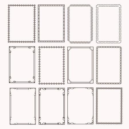 Illustration pour Decorative frames and borders rectangle proportions set - image libre de droit