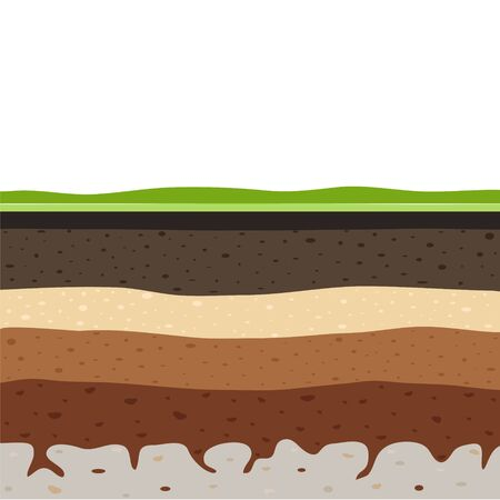Illustration for Layers of grass with Underground layers of earth, seamless ground, cut of soil profile with a grass, layers of the earth, clay and stones, ground water - Royalty Free Image