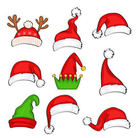 Illustration for Christmas holiday hat. Funny elf, snow reindeer and Santa Claus hats wearing for noel sign. Elves fur cap clothes, decoration xmas costume cartoon isolated vector icon set - Royalty Free Image