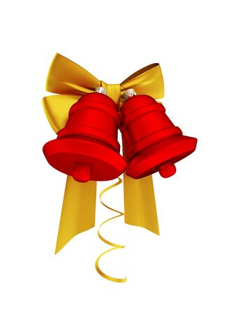 Christmas decoration with golden ribbons and red bells. Isolated on white. 3d rendered.