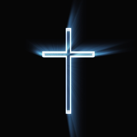 Glowing christian cross isolated on black background.