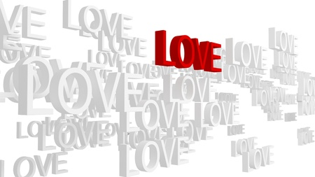 True love concept. Isolated on white background. 3d rendered.