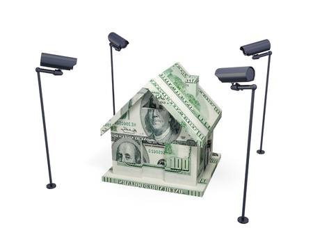 House made of money and observation cameras. 3d rendered. Isolated on white background.