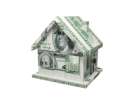 House made of money. 3d rendered. Isolated on white.