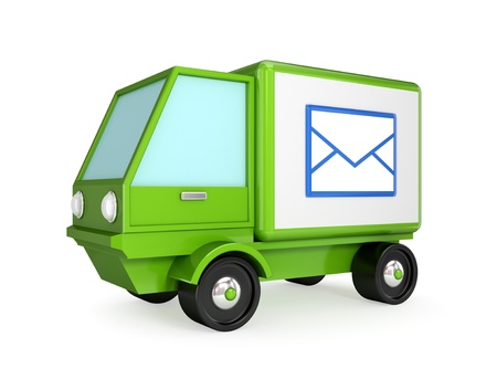 Postal truck. 3D rendered. Isolated on white background.