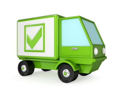 Green truck with a green tick mark. 3D rendered. Isolated on white background.
