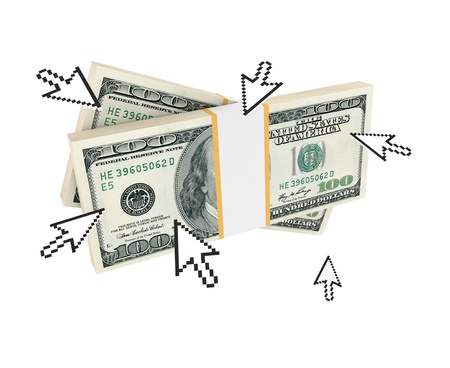 Cursors pointing on dollar packs. 3d rendered. Isolated on white background.