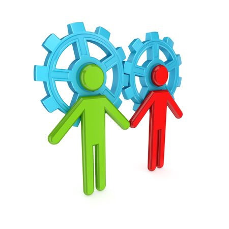 3d small people merged with a blue gears. Teamwork concept. 3d rendered. Isolated on white background.